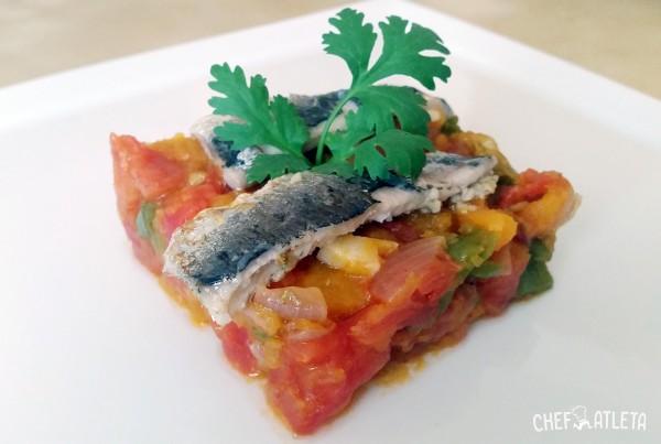 Pisto de calabaza con sardinas marinadas