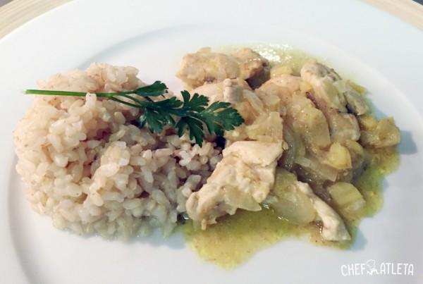 Receta Pollo al curry con arroz integral