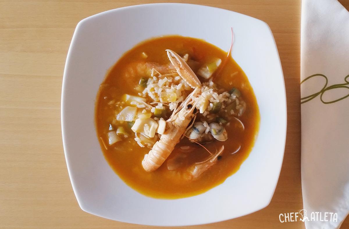 Arroz caldoso con langostinos y calamares - Receta