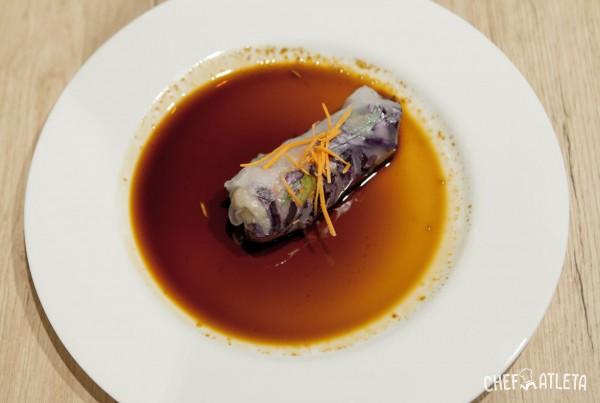 Receta Rollitos asiáticos de arroz y verdura con salsa teriyaki