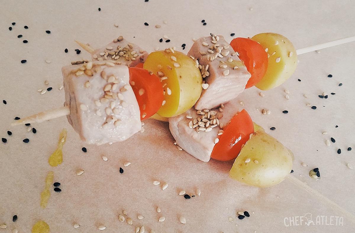 Receta Pincho Atún con tomates Cherry