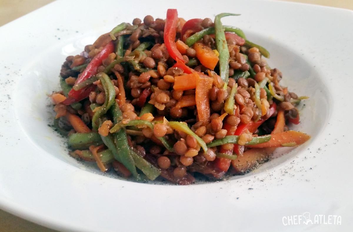 Receta Wok de lentejas con verduras y salsa de soja
