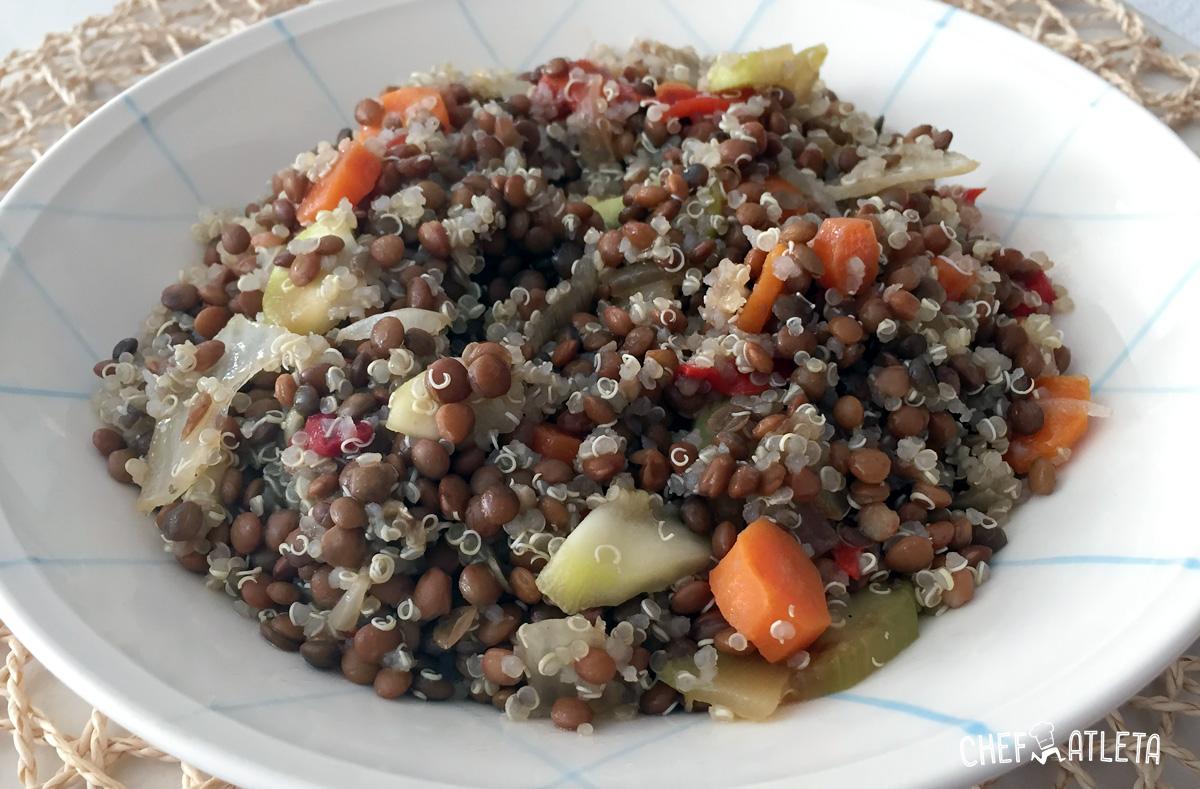 Receta de Lentejas con quinoa y verduras