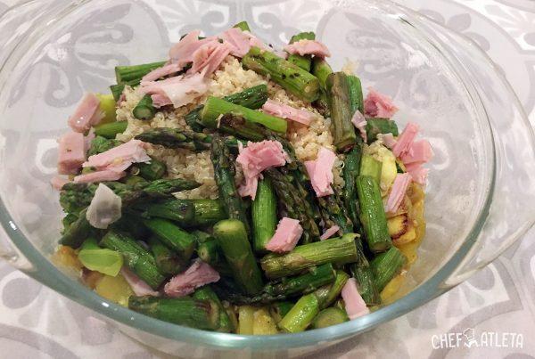 Receta Revuelto de quinoa con verduras y jamón cocido