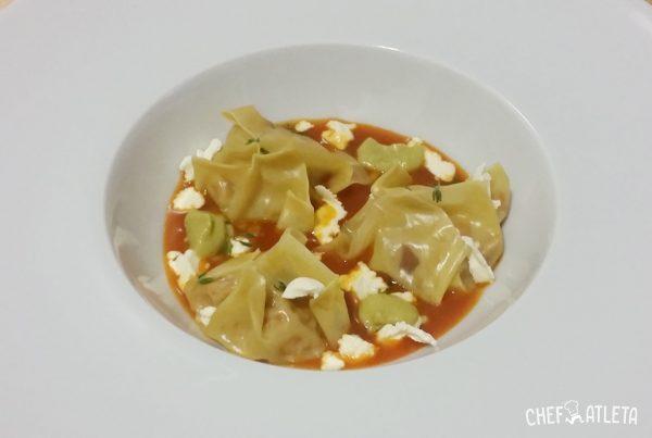 Receta Saquitos de conejo y verdura con salsa de tomate y ricotta