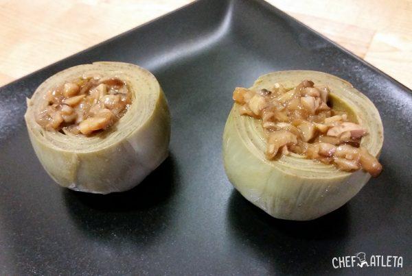 Receta Alcachofas rellenas de Shitake y champiñones portobello