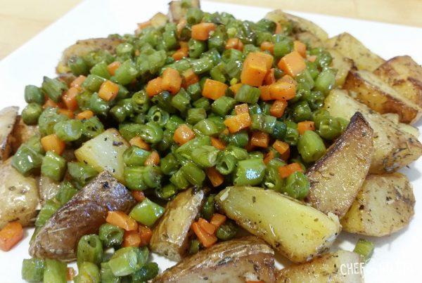 Receta Patatas salteadas con judías verdes y zanahoria