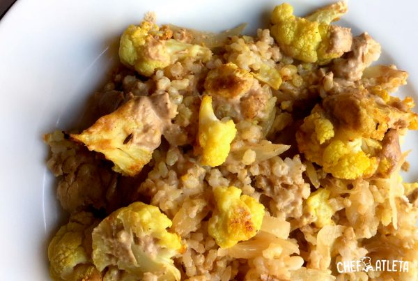 Arroz de coliflor al curry