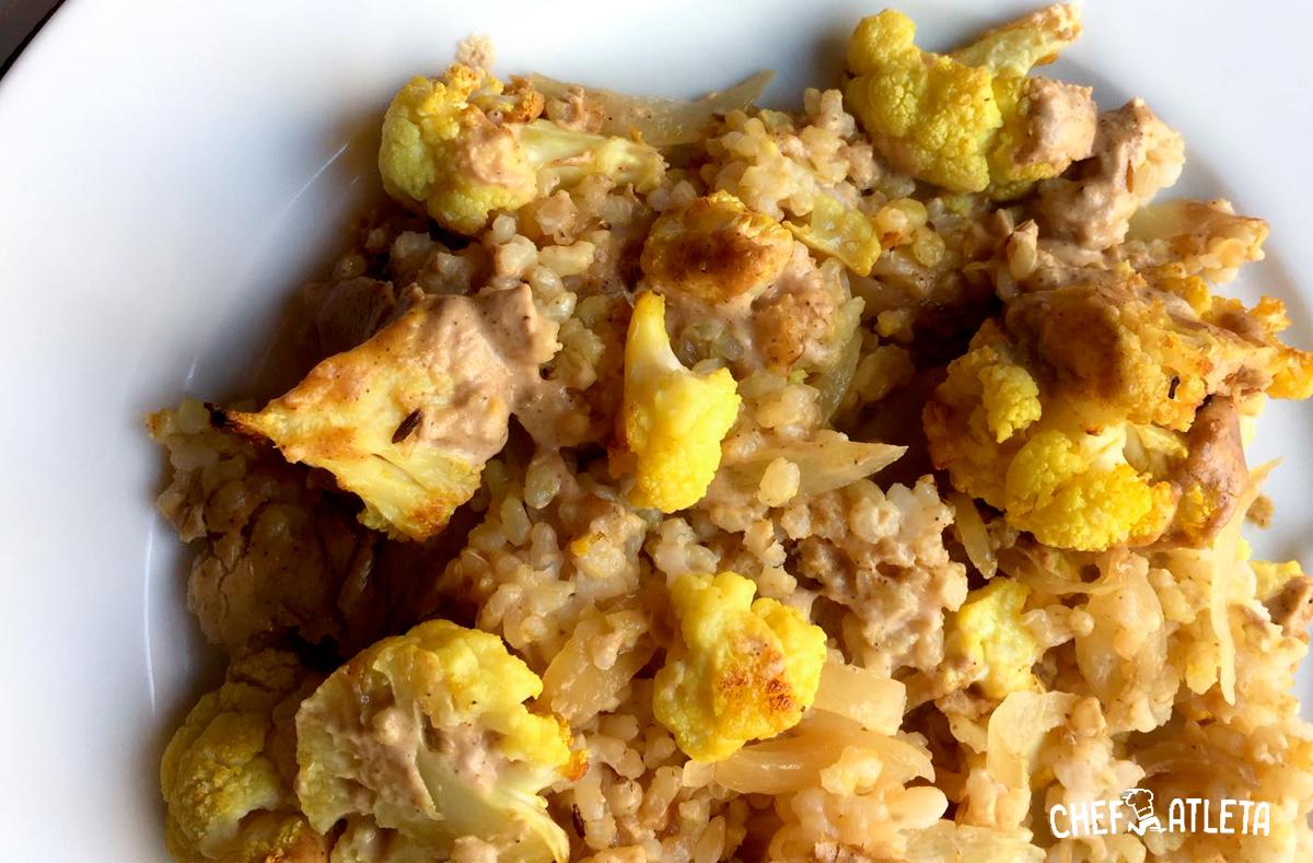 Arroz de coliflor al curry